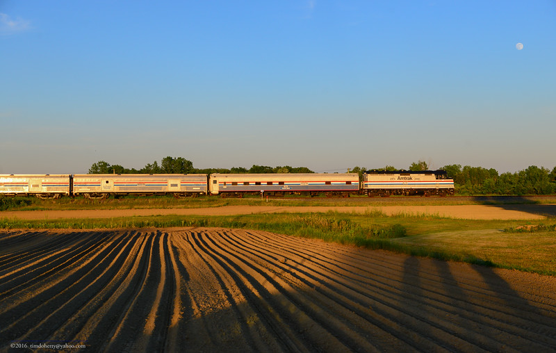 The Amtrak Exhibit Train flying through Hatfield on the high speed section of the Conn River.