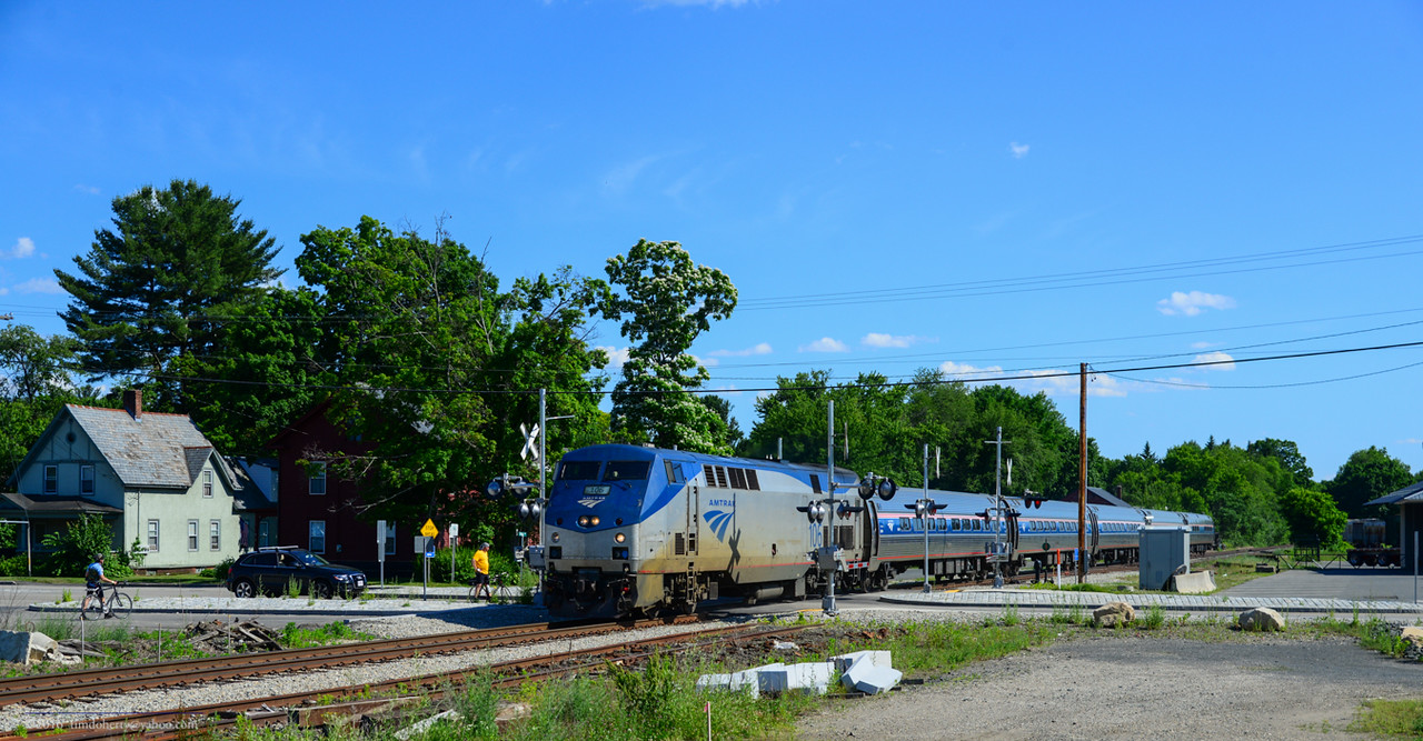 The Northbound Vermonter crossing Elm Street in South Deerfield on June 18, 2016.