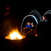 Light painting by the campfire