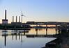MBTA 150 from Newburyport crosses the Mystic River on Draw 7 just at sunrise on 9/13/2016.