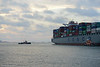 The containership COSCO Philippines head out to sea from Boston's Conley Termial.