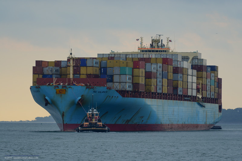 Containership MSC Kalamata arriving in Boston.