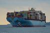 Containership MSC Kalamata arriving in Boston.