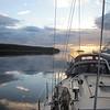 Anchored at sunset in Vixen Inlet just north of Ketchikan, Alaska.