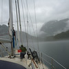 Picking up anchor in Takatz Bay in a spectacular downpour.