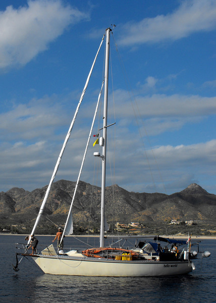 Hauling up the anchor in Los Frailes just north of Cabo San Lucas.