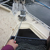 Using the capstan on our windlass to haul up a prawn trap that got snagged on a tree.