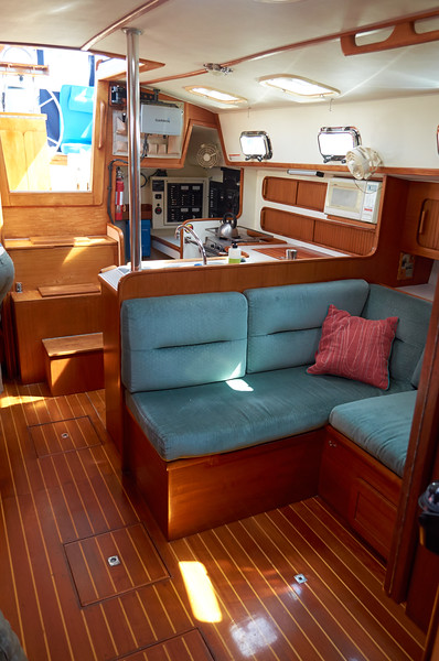 In the salon looking aft towards the galley