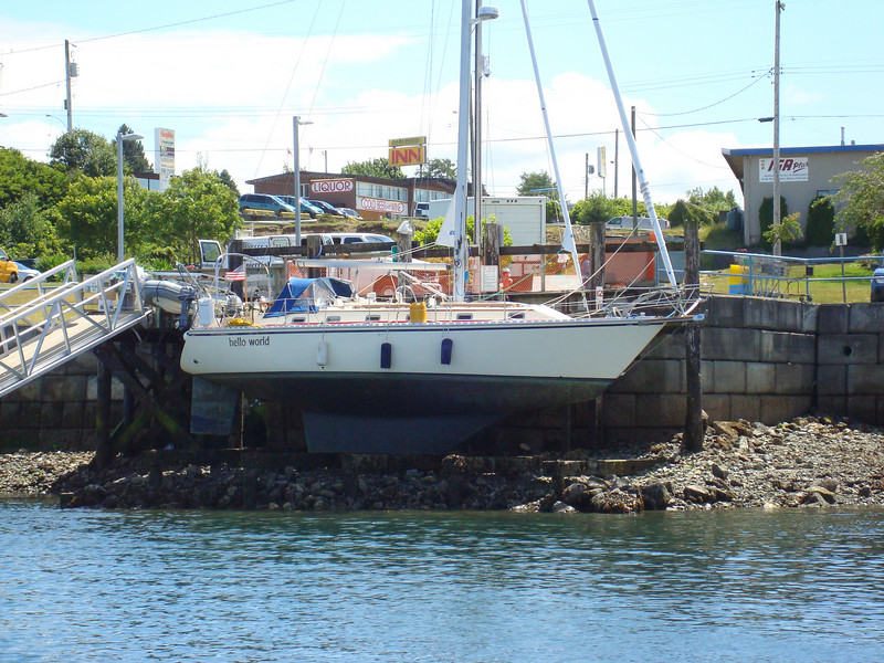 Hauled out on a tidal grid in Port McNeil, British Columbia.