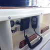 Port side cubby with VHF remote mic