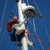 Installing the Garmin 18HD radome to the mast.