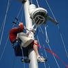 Installing the Garmin 18HD radome to the mast.