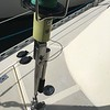 Staysail furler with pelican hook to stow furler back by the mast.