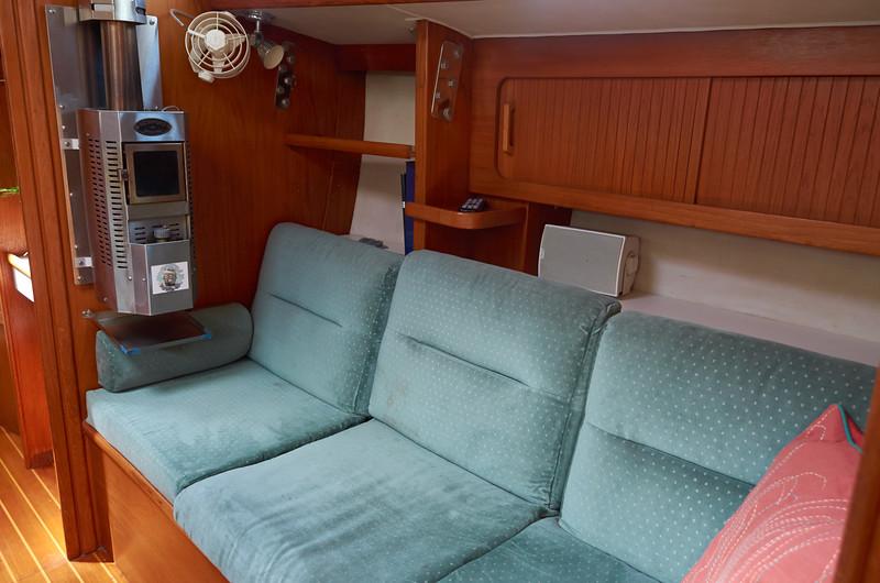 Starboard settee and Dickinson diesel heater