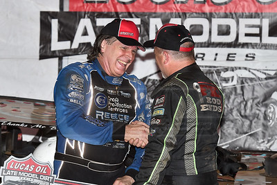 Jimmy Owens (R) congratulates winner Scott Bloomquist (L) in victory lane