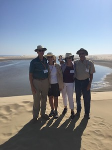 Van, Myra, Karen and Dick Pose with PJ and the Inland Sea in Al Wakrah, Qatar - Bridget St. Clair