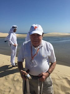 Charlie sports Princeton gear in Al Wakrah, Qatar