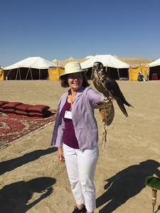 Karen tries her hand at falconry in Al Wakrah, Qatar - Bridget St. Clair
