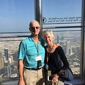Van and Myra atop Burj Khalifa, the world's tallest skyscraper, in Dubai - Bridget St. Clair