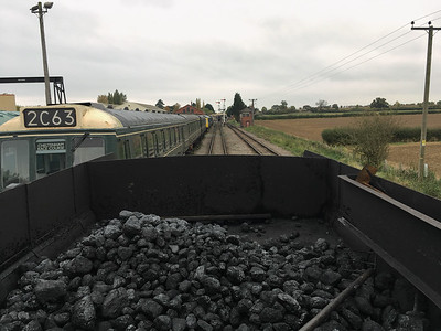 Looking out across the tender back at Toddington as we leave for the first time.  Welsh coal fuel our loco for today.