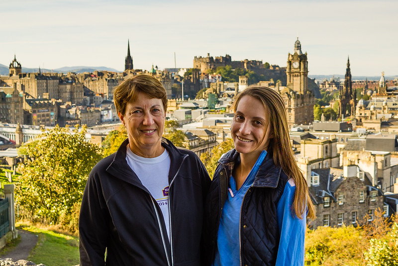 Girls with Old Town in background