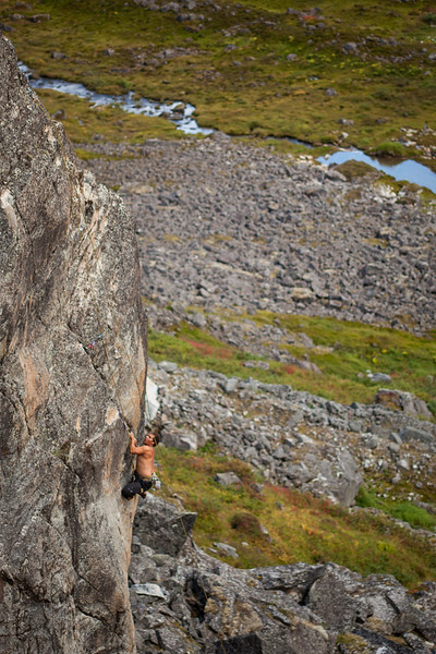 Kelsey follows through the crux of an unknown 5.11c/d on the Fairangel Gap Wall.