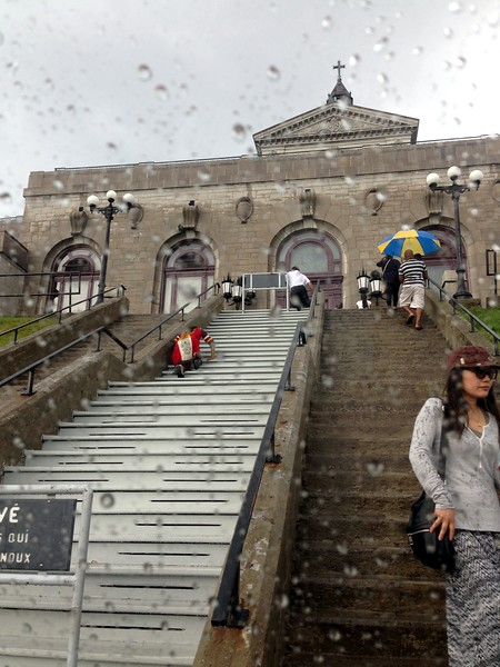 Montreal is also a city of many catholic churches. We visited the St. Joseph's Oratory with Beverley and Albert on the only day it rained. Devout visitors climb the steps in the middle, kneeling to pray at every step.