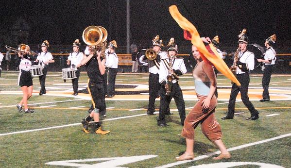 Vinton-Shellsburg Marching Band performs at halftime