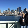 Windy Seattle skyline view from the Bainbridge Island ferry