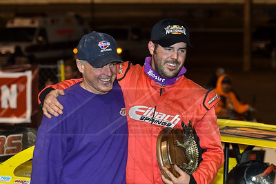 Billy Moyer (L) and Billy Moyer, Jr. (R) in victory lane