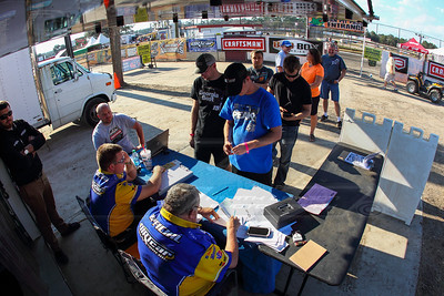 Drivers and crews signing in to Volusia Speedway Park