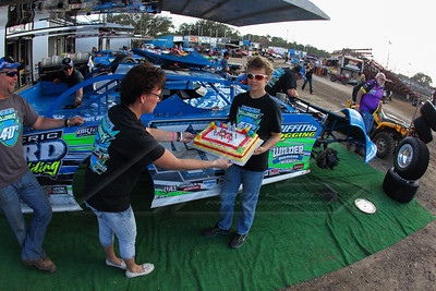 Chad Hollenbeck's son celebrating a birthday in the Volusia Speedway Park pit area