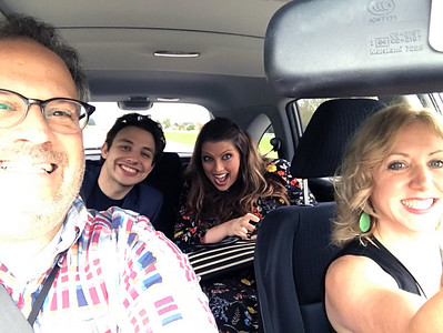 "Arts Institute staff Mallory Murphy (back, right), Christina Martin-Wright (front, right), Wisconsin Film Festival Coordinator Ben Reiser (front, left) and ""Rwanda & Juliet"" filmmaker Ben Proudfoot en route to Beaver Dam for the first screening on Thursday, October 6, 2016."