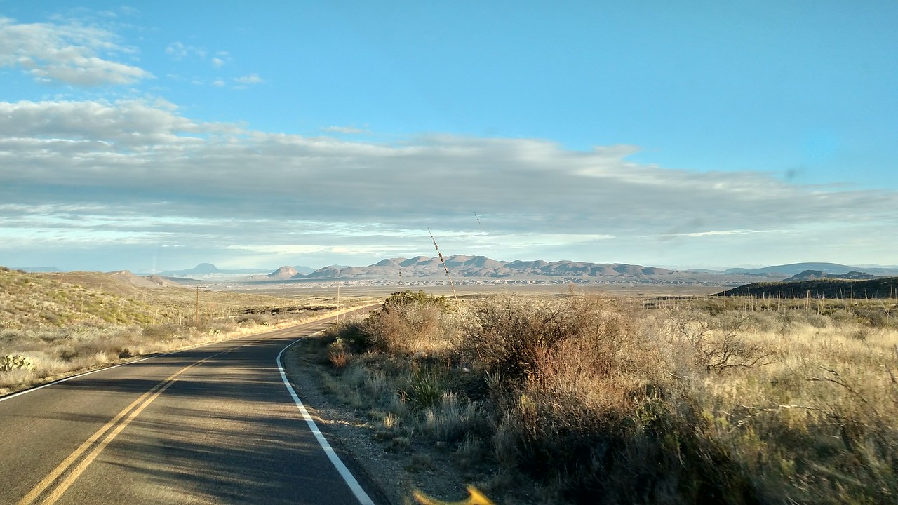 Big Bend National Park.  For the first time in 1000 miles, the sun appears!