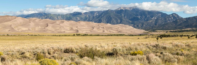 GREAT SAND DUNES NATIONAL PARK. 30 SQUARE MILES, 750 FEET HIGH DUNES BLOWN UP AGAINST THE SANGRE DE CRISTO MOUNTAINS