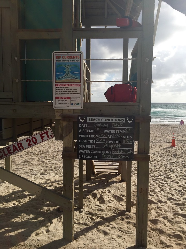 Tough Christmas at Deerfield Beach; jellyfish warning so I couldn't swim in the ocean.