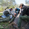 Team Rubicon member Christian Velasquez, left, performs a head-to-toe assessment on a simulated injured victim while Lisa Swnak and Jonathan Walker assist him. Team Rubicon members from Region 9 participated in a three-day Wilderness First Aid/First Responder training at Beals Point in Folsom, Cali. The training taught TR members about providing aid when they come those who sustained injuries.