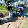 Team Rubicon member Lisa Swank acts as a victim who is completely unconscious and non-responsive. Team Rubicon members from Region 9 participated in a three-day Wilderness First Aid/First Responder training at Beals Point in Folsom, Cali. The training taught TR members about providing aid when they come those who sustained injuries.