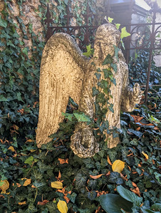 A weeping angel in a cemetary in Kutna Hora, Czech Republic.