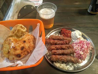 Dinner at a local Cevapi joint in Belgrade, Serbia.