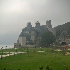 The old Golubac fortress on the banks of the Danube near the Iron Gates in Serbia.