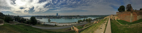 View of the Sava River from the Kalemegdan Citadel in Belgrade, Serbia.