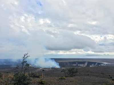 A view of active lava in the Kilauea crater, from the Jagar Museum in Hawaii Volcanoes National Park.