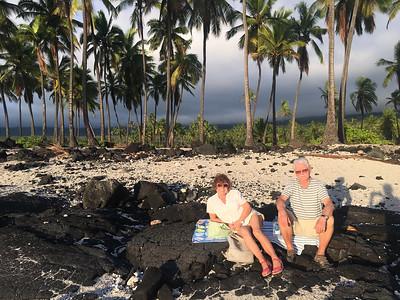 Relaxing for sunset in Pu'uhonua O Honaunau Park.