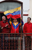 Venezuela - March 17, 2012 Hugo Chavez, president of Venezuela accompanied by Rafael Ramirez (L) President of PDVSA ( petroleum state company ) , Tarek El Aissamy (r) interior and justice ministr in one political act from the people´s in the palace of Miraflore, in Caracas / Venezuela : Venezuelas Präsident Hugo Chavez am 17.03.2012 in Miraflores © Juan Carlos Hernandez/LATINPHOTO.org