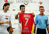Venezuela : June 22, 2013. Luis Figo (L) , astro del futbol portuges whit the shirt of the local team . Figo  played a friendly game with the deportivo Anzoategui, to raise funds through his foundation Luis Figo . The meeting was held at the Jose Antonio Anzoategui Stadium , in the city of Puerto la Cruz / Venezuela : Luis Figo im Stadion Jose Antonio Anzoategui © Juan Carlos Hernandez/LATINPHOTO.org