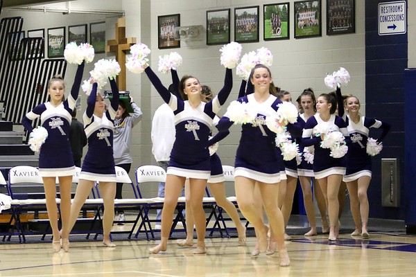 Xavier Cheerleaders and Poms at Xavier/Hempstead Mens' Basketball Game 1/20/17