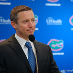 Florida Gators mens basketball head coach Mike White talks to the media during the 2017 Gators mens basketball media day.  October 3rd, 2017. Gator Country photo by David Bowie.
