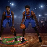 University of Florida Gators Gorjak Gak and Dontay Bassett pose for portraits during the 2017 Florida Gators mens basketball media day.  October 3rd, 2017. Gator Country photo by David Bowie.