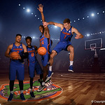 University of Florida Gators freshmen Isiah Stokes, Mike Okauru, Deaundrae Ballard and Chase Johnson pose  for portraits during the 2017 Florida Gators mens basketball media day.  October 3rd, 2017. Gator Country photo by David Bowie.